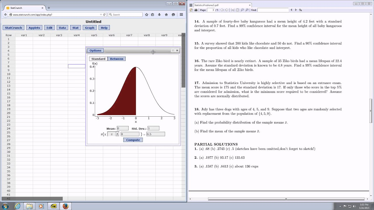 Cutoff Value With Statcrunch And Normal Distribution