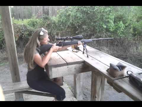 Girl shoots 300 Weatherby Mag