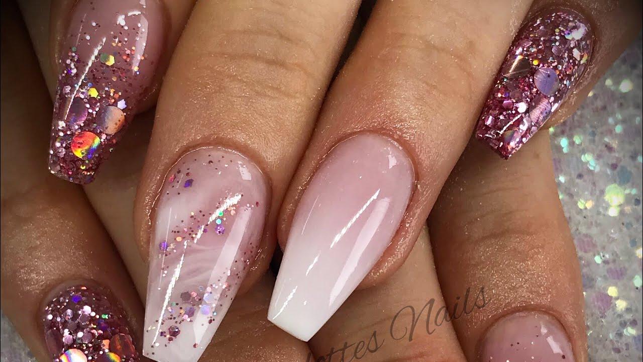 Acrylic nails - pink & white design set - YouTube