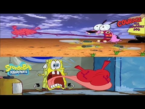 Courage and Spongebob scream with there hearts out
