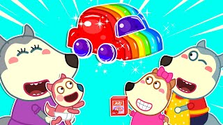 Wolf Family🌞 Wolfoo Makes Colorful Jelly Car - Kids Stories About Wolfoo Family