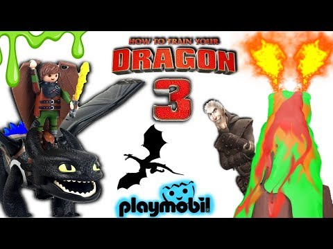 RESCUE PLAYMOBIL DRAGONS FROM SLIME VOLCANO! How to Train Your Dragon 3 Surprise Toys