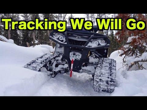 Can Am  & Yamaha ATV On Tracks - Deep Snow All Terrain Vehicle Ride On Commander Tracks - Feb 28/15