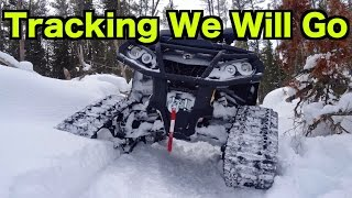 Can Am  & Yamaha ATV On Tracks - Deep Snow All Terrain Vehicle Ride On Commander Tracks - Feb 28/15