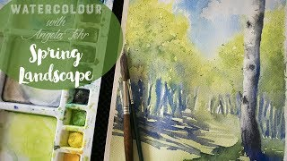 Watercolor Landscape Full Lesson: Sun & Shadows in Spring with Shinhan Giveaway