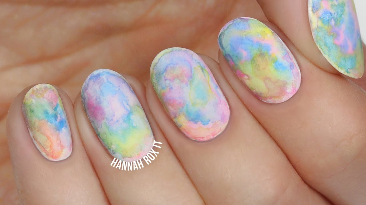 Easiest Watercolor Nail Art (great for beginners!) - YouTube