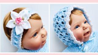 Crochet baby bonnet, crochet cap or crochet hat / Crochet headband for baby girls CROCHET FOR BABY