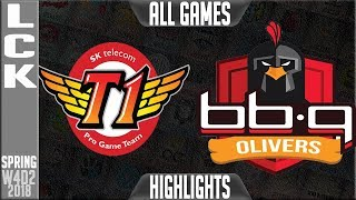SKT vs BBQ Highlights ALL GAMES | LCK Week 4 Spring 2018 W4D2 | SKT T1 vs BBQ Olivers Highlights