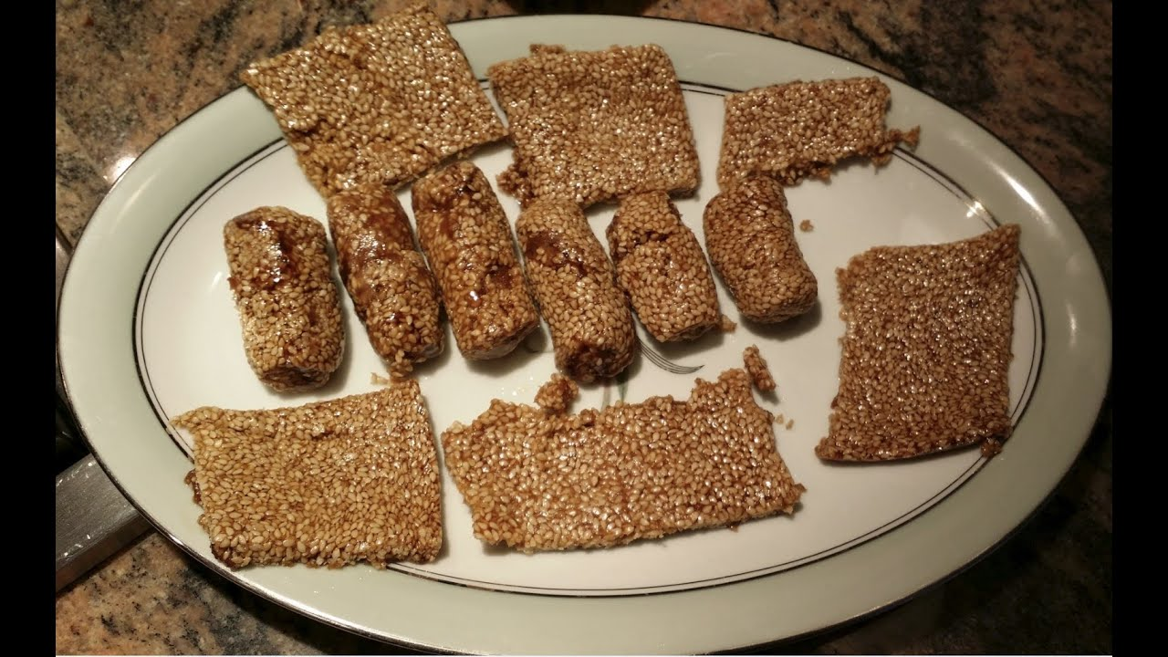 3-Ingredient Sesame Seed Crunch Candy (Gluten-Free ... |Sesame Seed Candy With Cranberries