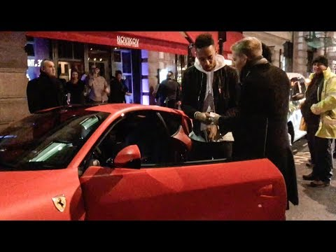Arsenal Footballer Aubameyang Revving his Ferrari 812 Superfast in London!!
