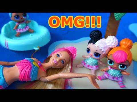 BARBIE Lets LOL SURPRISE DOLLS Go Swimming AND They Find A MERMAID!!