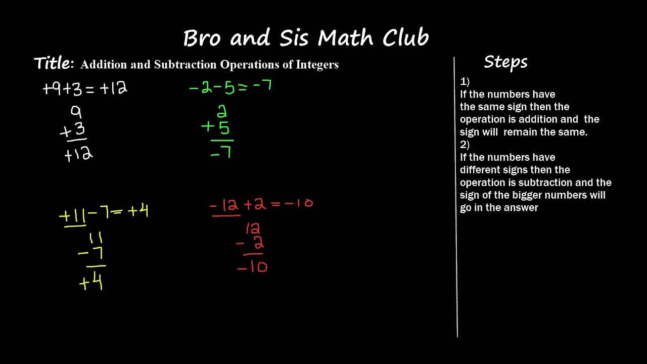 6th Grade Math Add And Subtract Integers