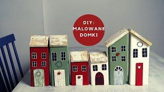 DIY: Malowane domki z drewna /Little wood houses craft - Dom z duszą
