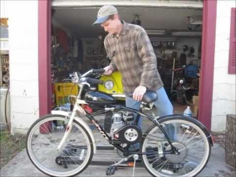 Gas engine bicycle youtube for Little motors for bicycles