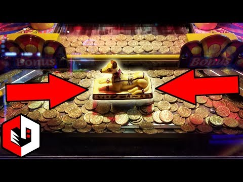 Winning The Coin Pusher JACKPOT! | Ticket Wins at Pharaohs Revenge Arcade Game