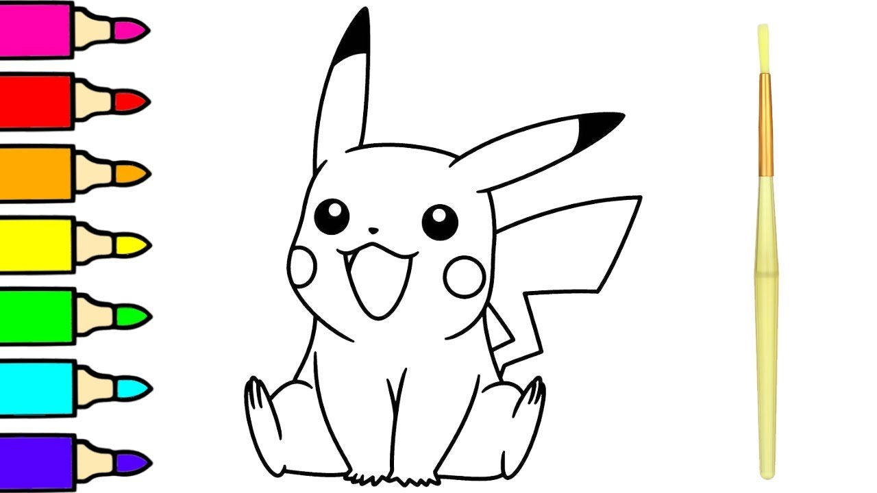 Cute Pikachu Coloring Painting Pages Pokemon Drawing For Kids And Babies Youtube