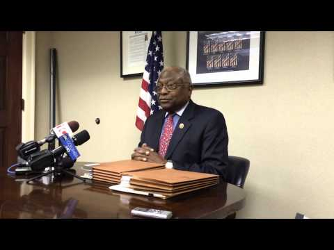 Congressman Jim Clyburn, D-South Carolina, speaks with reporters in Columbia Thursday, April 2.