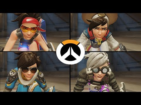 Overwatch - All Tracer Skins with All Highlight Intros!