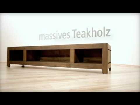 sch n anzuschauen tv bank aus teak youtube. Black Bedroom Furniture Sets. Home Design Ideas