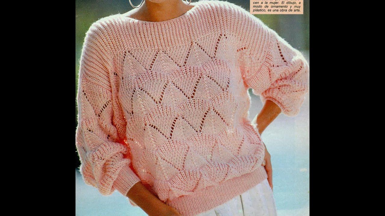 Patr n para tejer jersey en punto de arroz youtube - Patrones jerseys de punto hechos a mano ...