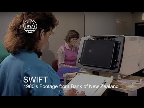 1980's footage from Bank of New Zealand talking about SWIFT