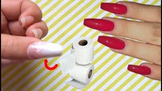 CÓMO HACER UÑAS POSTIZAS DE PAPEL HIGIÉNICO CASERAS - HOW TO MAKE FAKE NAILS OF PAPER