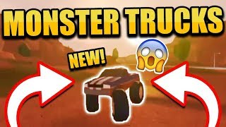 MONSTER TRUCKS ADDED IN NEW JAILBREAK UPDATE! FERRARI, MUSTANG AND MONSTER TRUCK! (Roblox Jailbreak)