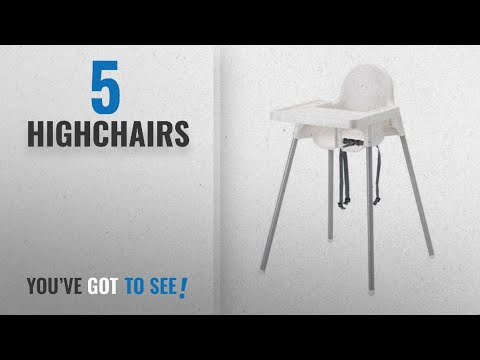 Top 10 Highchairs [2018]: Ikea Antilop Highchair with Tray, Safety Belt, White/Silver Colour