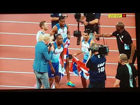 Mens 4 x 100m Relay Final. 2017 London World Championships. Usain Bolt's last race. Team GB win gold