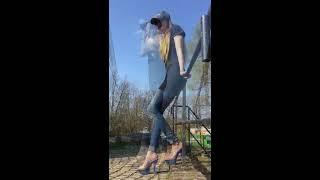 23b5cafc7 Lara in clear Blue High Heels Part II 6 inch 15 cm hoch