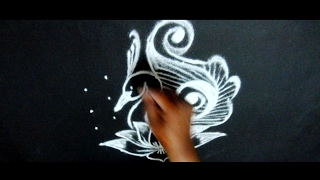 easy rangoli peacock designs with dots 7x4 || simple kolam designs with dots || easy muggulu designs
