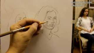 Обучение рисунку. Портрет. 4 серия: наброски с живой модели