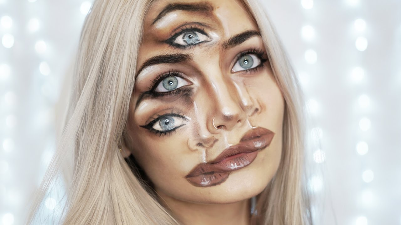 Trippy Triple Vision Halloween Makeup Tutorial Youtube - Halloween-face-makeup