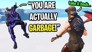 Purple Skull Trooper TRASH TALKS me until THIS happens in Fortnite... (HE APOLOGIZED!)