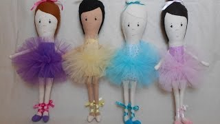 How To Make A Handmade Doll / Cloth Doll - Blue Whimsy Ballerina Part 1/3
