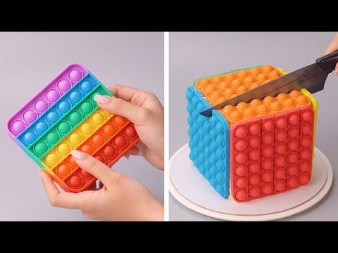 How To Make Rainbow Cake Decorating Ideas | So Yummy Colorful Cake Decorating Recipes