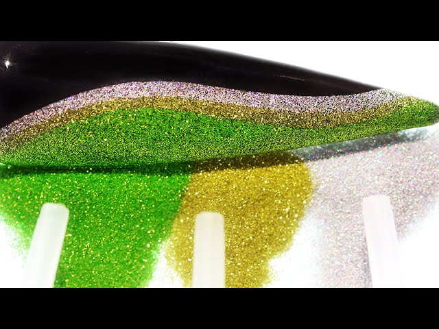 How To Create Green Gold Silver Glitter Wave With Reusable Stencil Nail Art Design (Part 1)