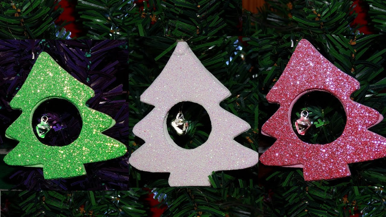 DIY Christmas tree ornaments using glitter decor foam /paper and jingle bell. - YouTube