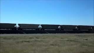 BNSF pulling full hopper train cars of coal