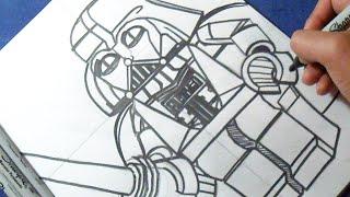 "Cómo dibujar a Darth Vader LEGO ""Star Wars"" | How to draw Darth Vader"