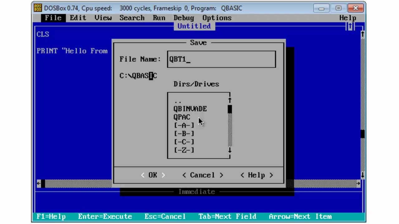QBasic Tutorial 1 - Getting Started - Free Download - QB64 - Program 1  Hello World - Download Link