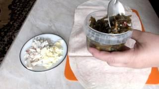 ЛАВАШ С КАЛЬМАРАМИ И МОРСКОЙ КАПУСТОЙ диетический рецепт закуска