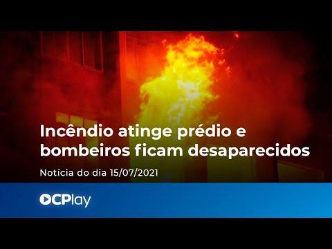 Incêndio atinge prédio e bombeiros ficam desaparecidos