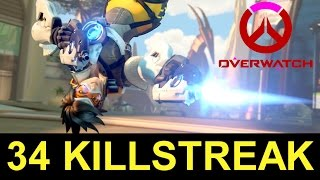 Tracer 34 KILLSTREAK! Tracer Butt Pose + Overwatch on Consoles (Overwatch Tracer Gameplay)