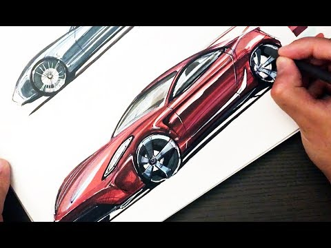 how to sketch with markers car in 3 4 front view youtube. Black Bedroom Furniture Sets. Home Design Ideas