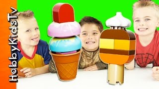 DUPLOE LEGO ICECREAM Toy Review! Surprise Toys with HobbyPig + HobbyFrog HobbyKidsTV