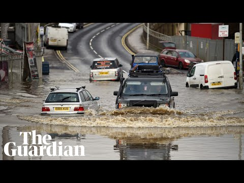 Flood water submerges roads in parts of northern England