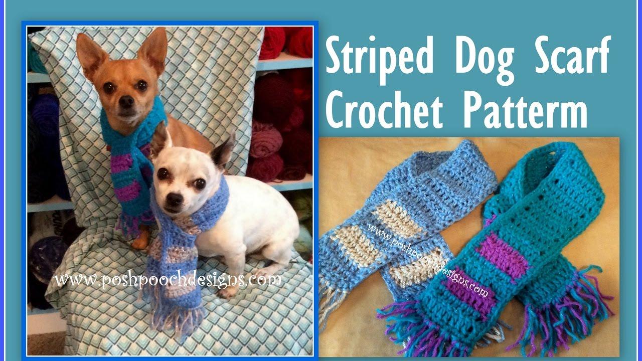 Striped Dog Scarf Crochet Pattern - YouTube