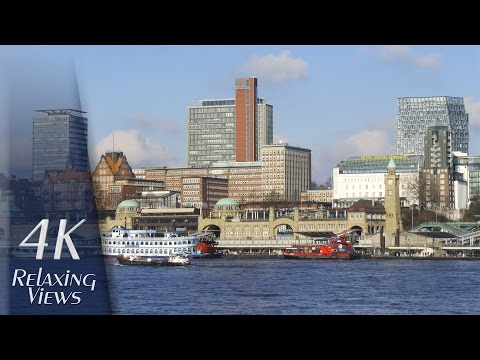 4K Ultra HD Relaxing Video: Hamburg, Germany - Hafen (Harbor), Elbe, Ships, City + St. Pauli Skyline