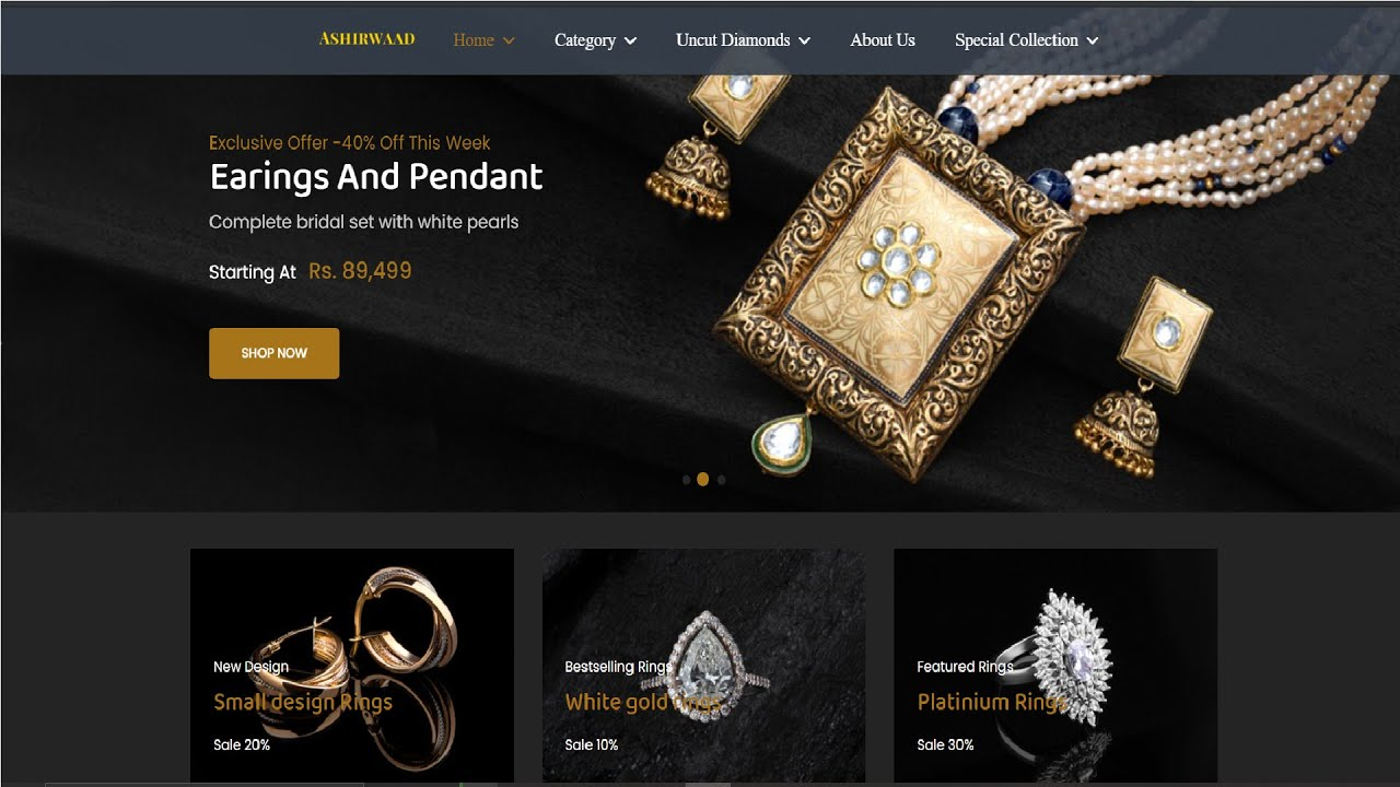 E-Commerce | Jewellery Website using HTML , CSS , BOOTSTRAP and JAVASCRIPT | Part 2